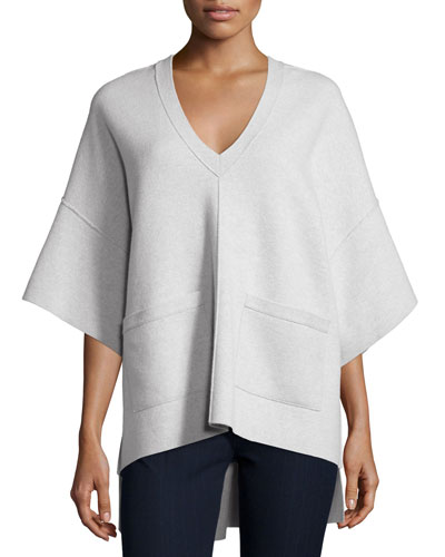 V-Neck Merino Sweater with Pockets, Oatmeal