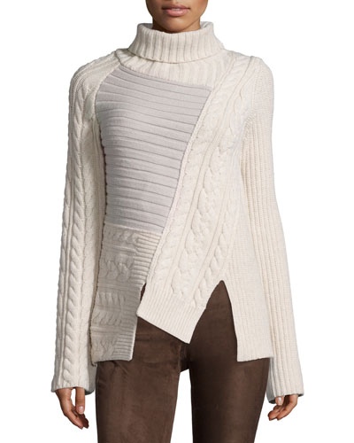 Wool Patchwork Chunky Turtleneck