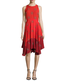 Elisa Sleeveless Printed Dress, Red Multi