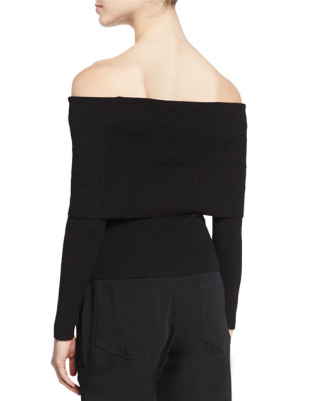 Monica Wool-Blend Off-the-Shoulder Sweater, Black