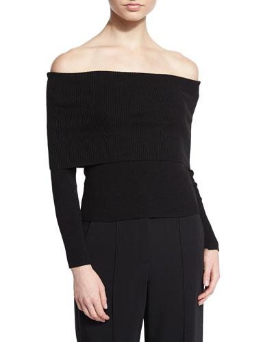 Monica Wool-Blend Off-the-Shoulder Sweater, Black