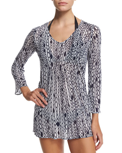 Buzios Chain-Print Tunic Coverup