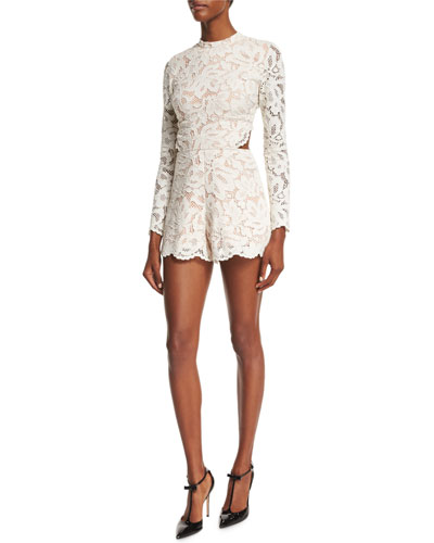Delma Open-Back Lace Romper, Off White