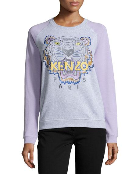 Cotton Raglan Tiger Sweatshirt, Light Gray