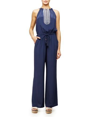 Embroidered Halter Silk Jumpsuit