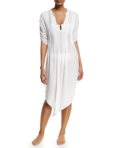 Thai Pleated-Front Tunic Coverup