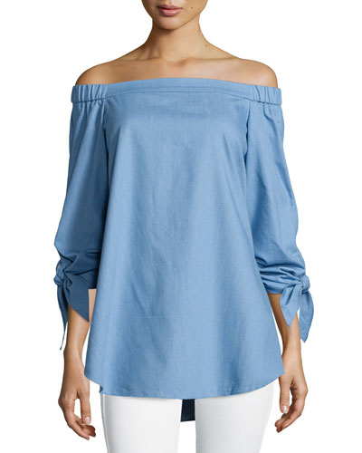 Tie-Sleeve Chambray Off-the-Shoulder Tunic, Brilliant Denim