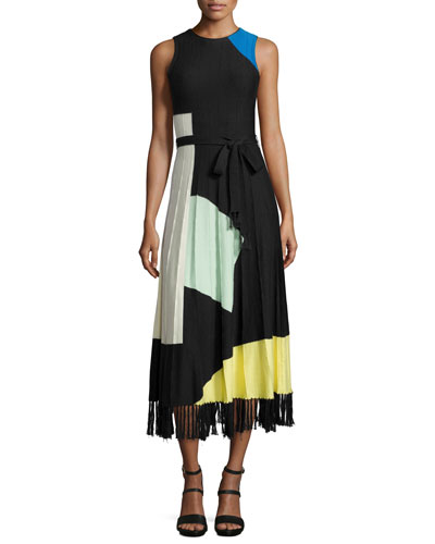 Lomi Abstract Pleated Midi Dress