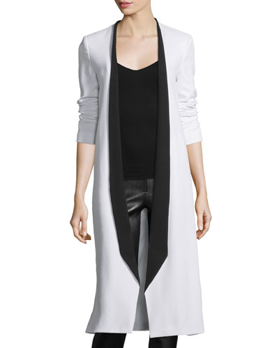 Rosamund Open-Front Long Crepe Jacket, White/Black