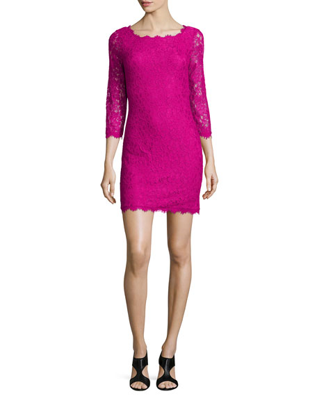 Zarita Lace Sheath Dress, Hot Orchid