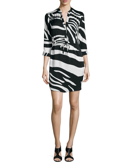 Freya Zebra-Print Drawstring Dress, Black/White