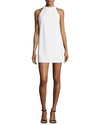 Lizbeth Sleeveless Crepe Mini Dress, White