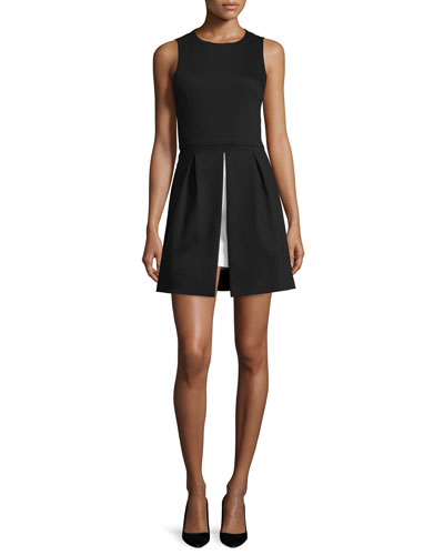 Bria Vented A-Line Dress, Black/White