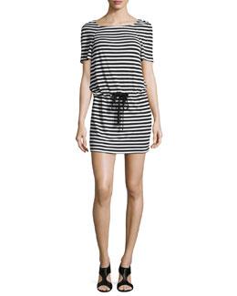 Amal Striped Jersey Dress, Black/White