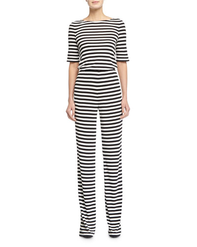 Kendra Striped Jumpsuit, Black/White