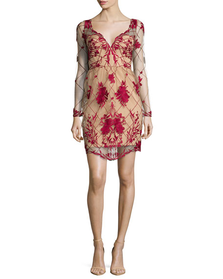 Long-Sleeve Embroidered Cocktail Dress