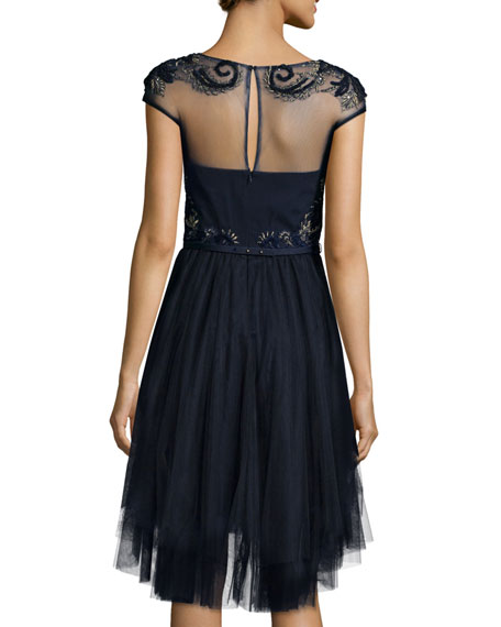 Cap-Sleeve Embroidered Tulle Dress