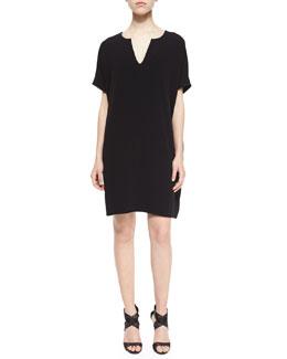 Kora Short-Sleeve Shift Dress, Black