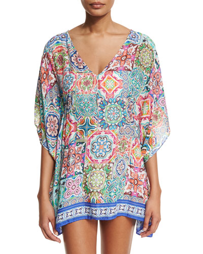 Greek Tiles Printed Caftan Coverup