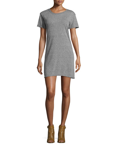 Short-Sleeve Knit T-Shirt Dress, Gray