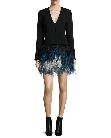 Brixton Long-Sleeve Feather Dress, Black/Ombre Blue