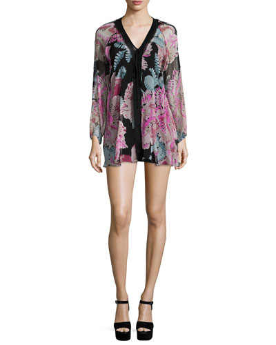Cleo Floral-Print Long-Sleeve Mini Dress, Black Multi