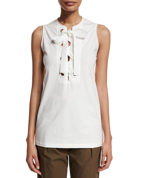 Bohemian Sleeveless Lace-Front Top, White