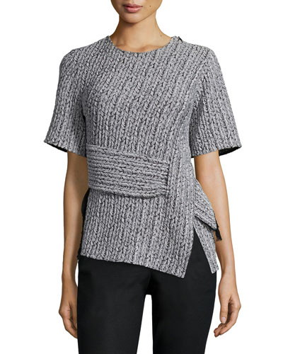Paneled Braided Jacquard Tee, Platinum