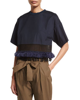 Boxy Cropped Cotton Tee, Obsidian