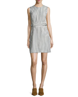Structured Striped A-Line Dress, Navy/Ivory
