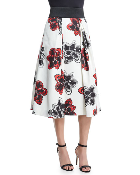 Katie Magnolia-Print Pleated Midi Skirt