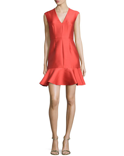 Satin V-Neck Fit-and-Flare Dress, Poppy