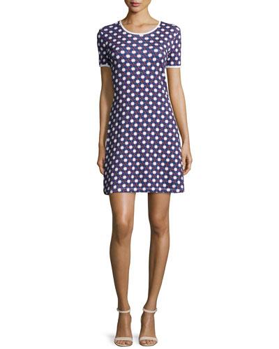 Plaid & Clover Cotton Mini Dress, Marine