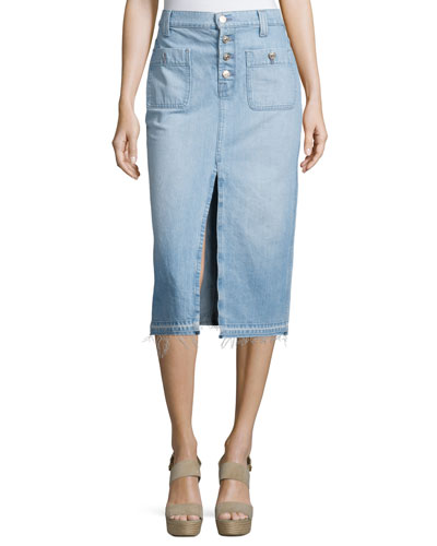Exposed-Button Denim Skirt, Blue