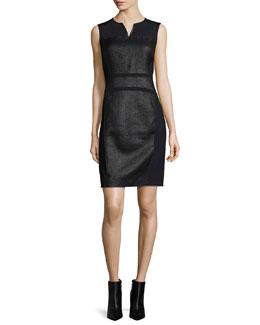 Anya Sleeveless Coated Tweed Sheath Dress