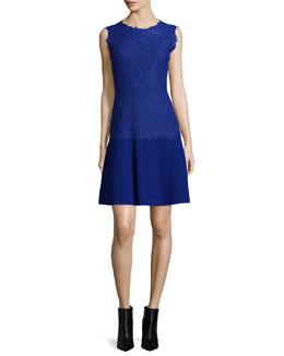 Adira Sleeveless Lace-Top Dress