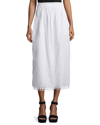 Cotton Eyelet Midi Skirt, Optic White