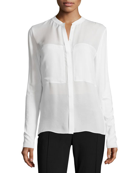 Elie Tahari Long-Sleeve Placket-Front Blouse