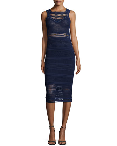 Sleeveless Crochet-Knit Sheath Dress, Navy