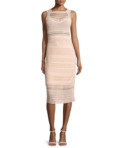 Sleeveless Crochet-Knit Midi Sheath Dress, Blush