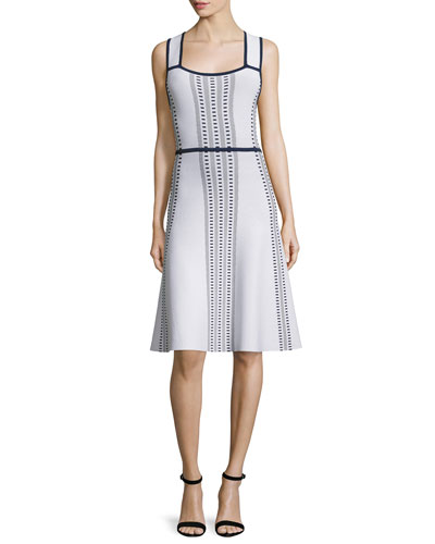 Sleeveless Fit-and-Flare Dash Dress, White/Navy