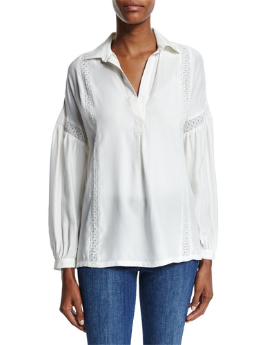 Le Lace Trim Long-Sleeve Top, Off White