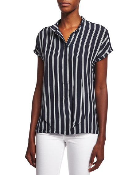 Short-Sleeve Tie-Neck Striped Top, Sky Blue/Multi