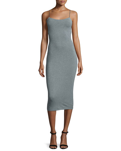 Strappy Stretch Midi Dress, Heather Gray