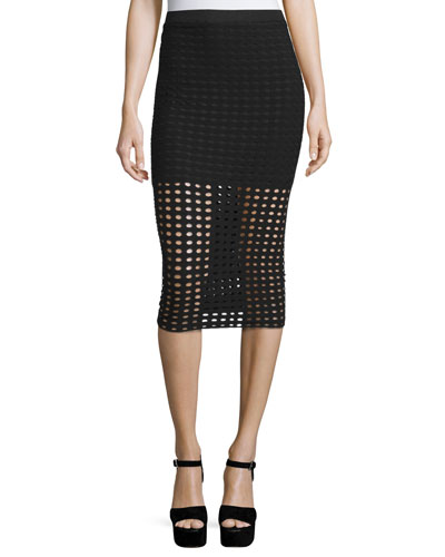 Eyelet Jacquard Pencil Skirt, Black