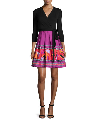 3/4-Sleeve Combo Wrap Dress, Black Floral Beet