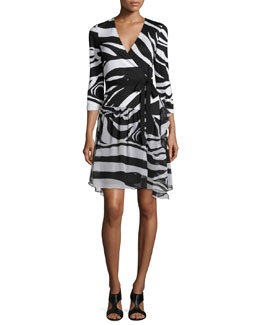 3/4-Sleeve Zebra-Print Wrap Dress, Zebra Simple Black
