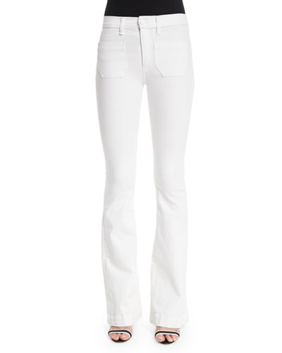 Taylor High-Waist Boot-Cut Jeans, White