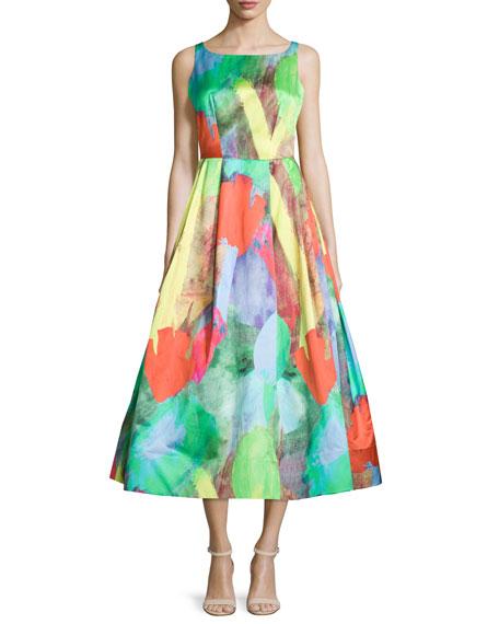 Crisscross-Back Midi Cocktail Dress
