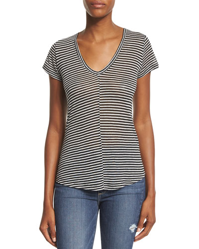 Hadley Striped Short-Sleeve Tee, Black/White